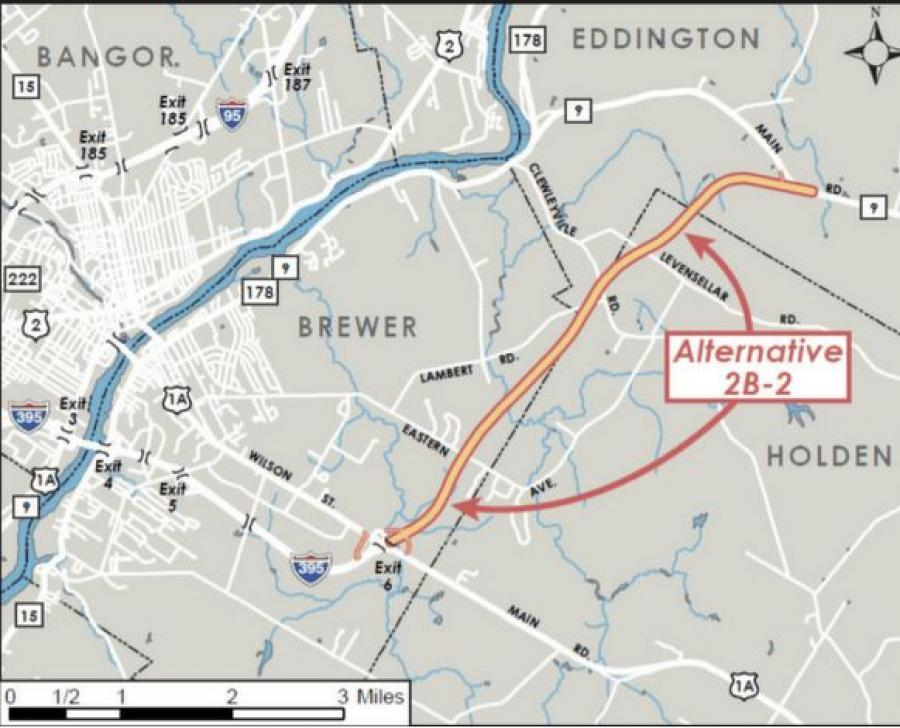 A Maine Department of Transportation map shows the route of the 6-mile connector between the end of I-395 in Brewer and Route 9 in Eddington. (Maine Department of Transportation photo)