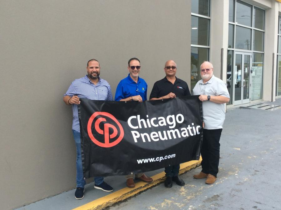 (L-R) are Victor Villafane, service manager, Gonzalez Trading; Fabian Rodriguez, rental manager, Gonzalez Trading; David Smith, regional sales manager, Chicago Pneumatic; and George Stewart, Caribe Atlantic.