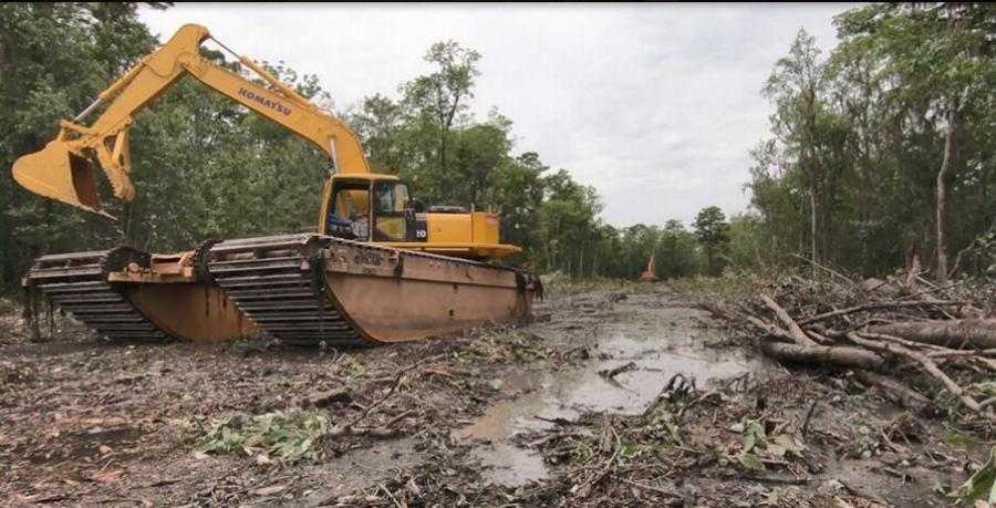 A swamp buggy in the path cleared for the West Shore Lake Pontchartrain hurricane levee, in 2019. (Army Corps of Engineers photo)