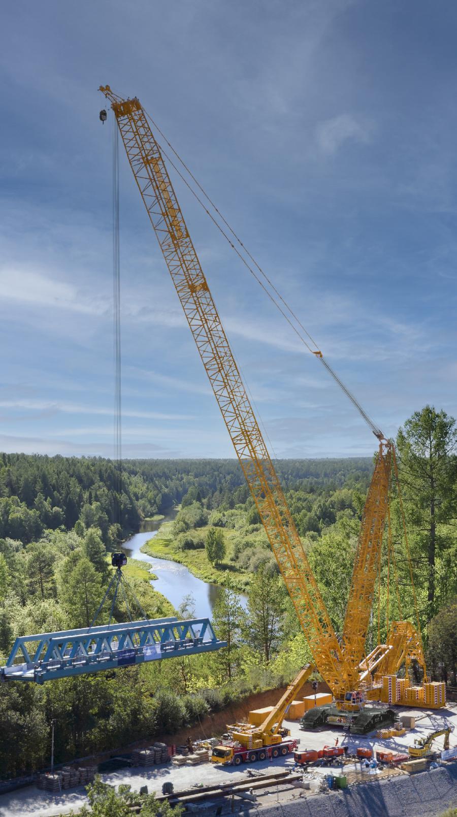 The Liebherr LR 11000 lattice boom crawler boasts a 1,200-ton capacity and 551 ft. of main boom.