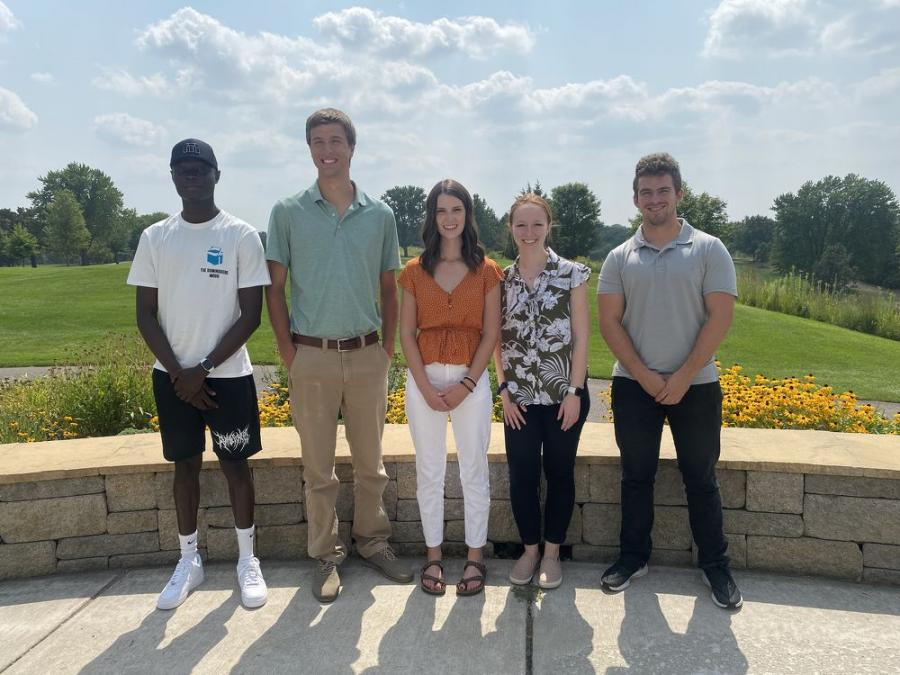 Five recipients of 2021 AGC academic scholarships were on hand to receive them at the tournament.