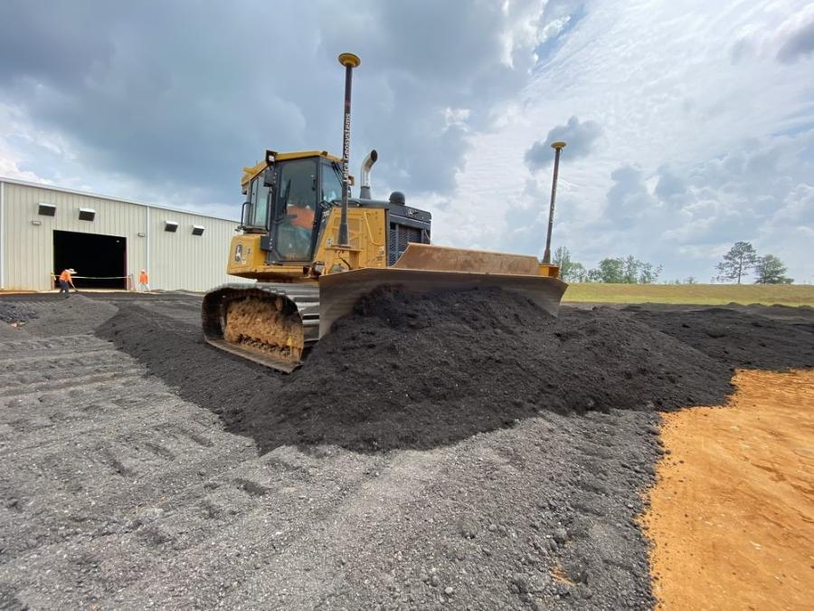 Subcontractor Triptek Construction LLC, a full-service construction company, has been responsible for the mass grading of the site, along with base material, asphalt paving, concrete paving and stone surfacing around the warehouses, as well as site utilities.   (Triptek Construction LLC photo)