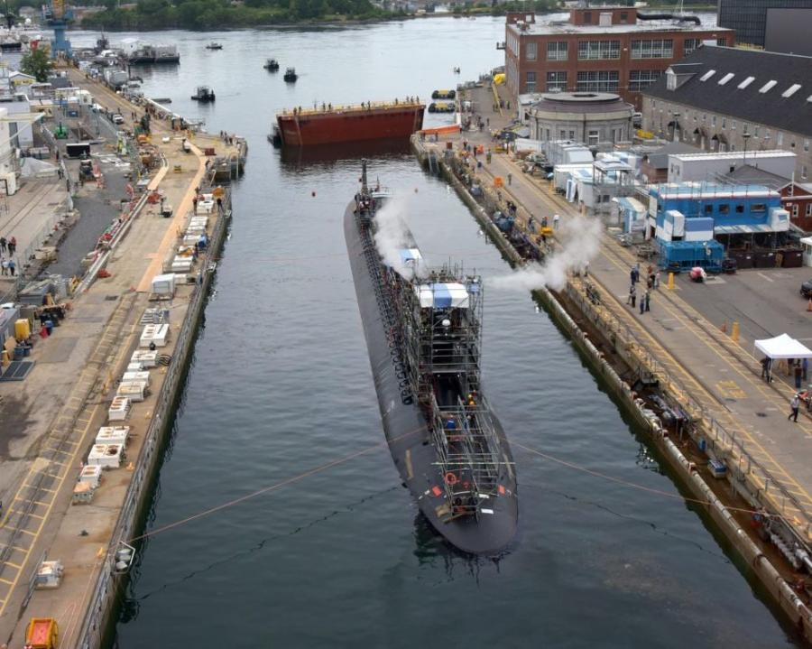 USS Virginia (SSN 774) successfully exits dry dock at Portsmouth Nava Shipyard in Maine on June 22, 2021. Virginia is at the shipyard for a scheduled maintenance period. (U.S. NAVY / Jim Cleveland photo)