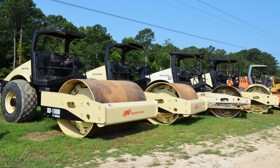 A great selection of rollers, including these single-drum Ingersoll-Rands, were in the sale lineup.