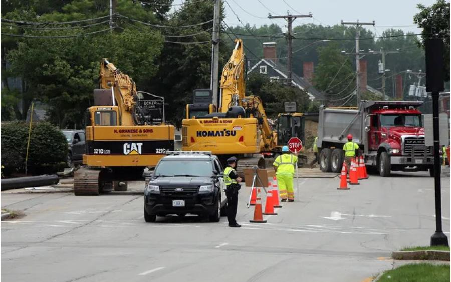 Work continues on Main Street in Dover, N.H., as old water main pipes are replaced with new ones. (Deb Cram/Fosters.com And Seacoastonline photo)