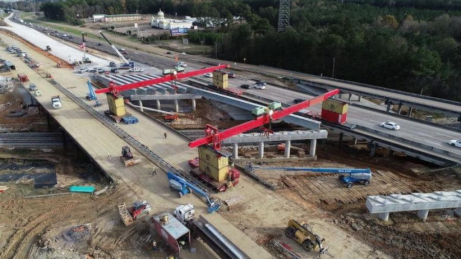 Crews from Key LLC used a self-propelled modular transport (SPMT) lifting frame at the site of new I-20 bridge in Jackson, Miss. (MDOT photo)