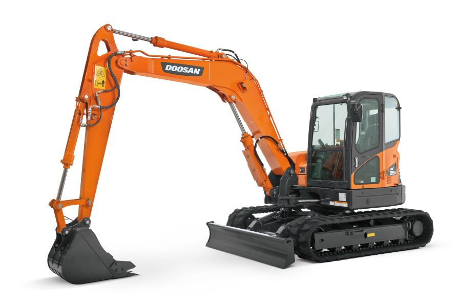 Operators can easily monitor important diagnostic information for the DX85R-3, like fuel level, coolant temperature, day/time, throttle position and engine rpm, on the mini excavator's deluxe color panel.