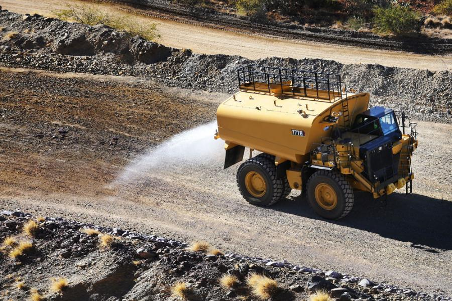The new Cat 777G Water Solutions truck comes standard with an integrated, 20,000-gal. Cat-branded water tank, complete with spray system, splash guards, fill chute and rock ejectors.