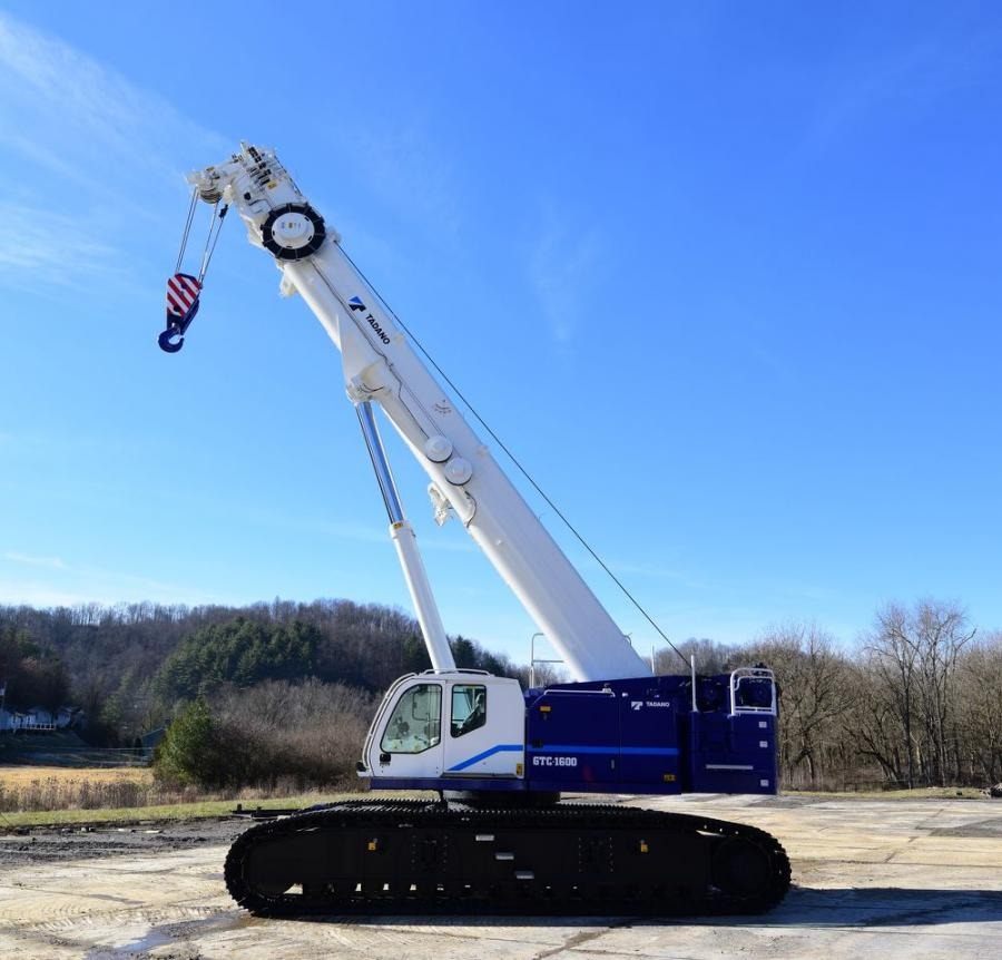 The Tadano GTC-1600 brings a 160 ton capacity solution to the lifting industry with more than 200 ft. of main boom length and out-of-level operation on slopes up to 4 degrees.