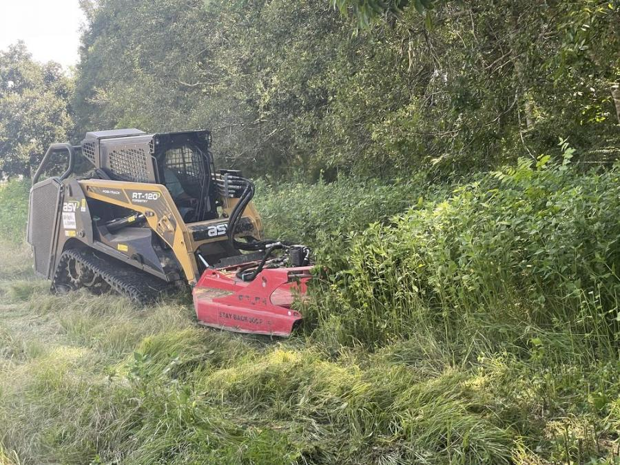 Todd Hyatt opted for a Fecon FDM74 deck mulcher and an ASV RT-120 Forestry model to clear the Chinese tallow trees, oaks, elms, pines and all the underbrush that surrounded them.