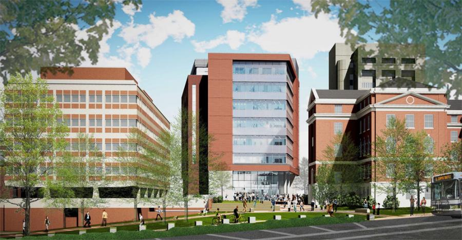 Designer rendering of the Medical Education Building as seen from South Columbia Street.