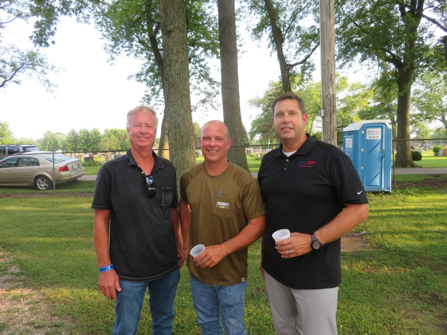 (L-R): Steve Spiess and his son, Shawn, both of Spiess Construction, and Jason Zeibert, president of Finkbiner Equipment Co., met up at the Steak Fry.