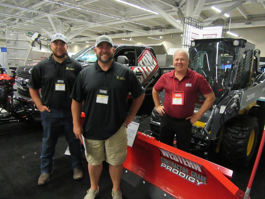 (L-R): Jacob and Brian Hominiuk of Foegley Landscape caught up with Western Snowplow's Rick Passiatore at the Cleveland Roadshow event.