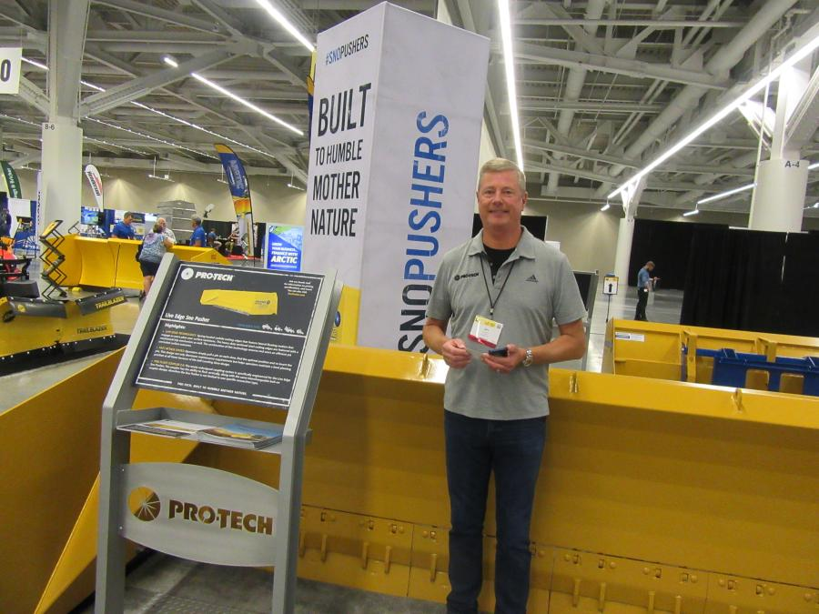 Jim Wegner of Pro-Tech was ready to discuss the company's Live Edge Sno Pusher with outstanding scraping capabilities