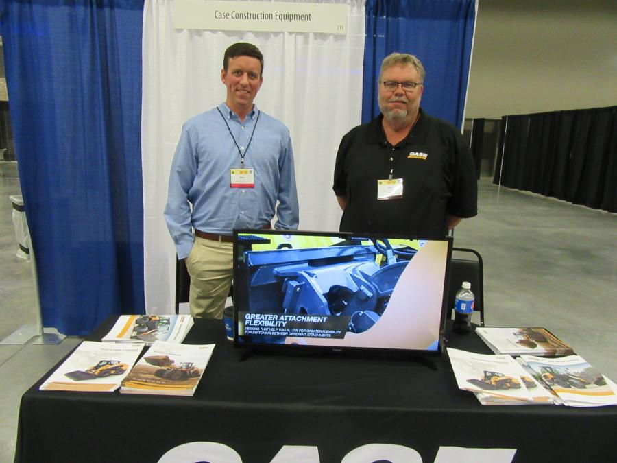 Case Construction Equipment's Marc Hauser (L) and Neil Detra were ready to provide information to attendees about Case equipment applications for snow and ice maintenance.