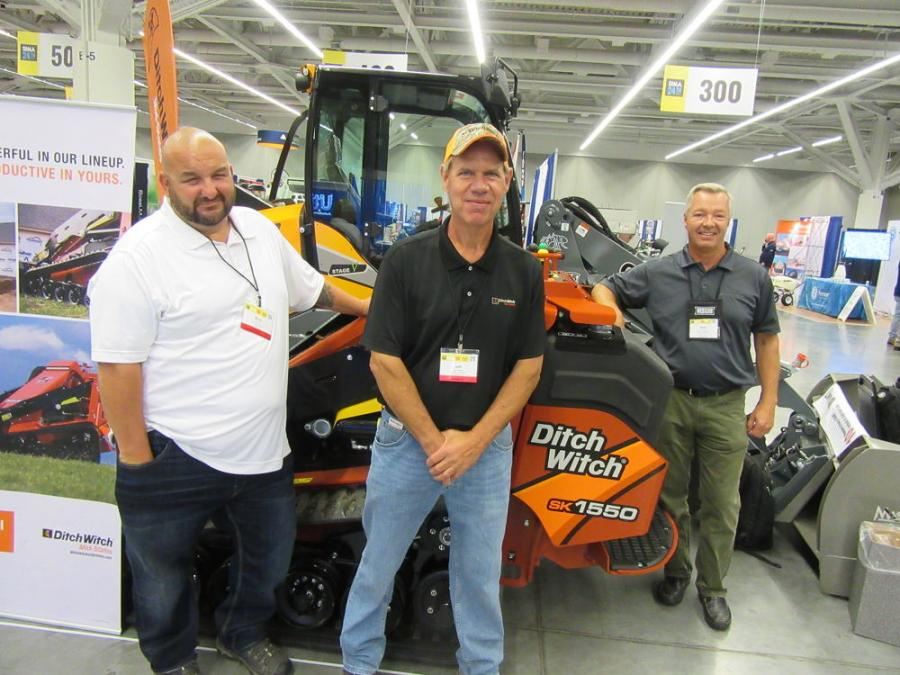 (L-R): Ditch Witch Mid-State' Brian Willis, Jeff Johnson and Sam Swartz presented the dealership's giant compact loaders and Ditch Witch stand-on mini-skid steers equipped for snow removal.
