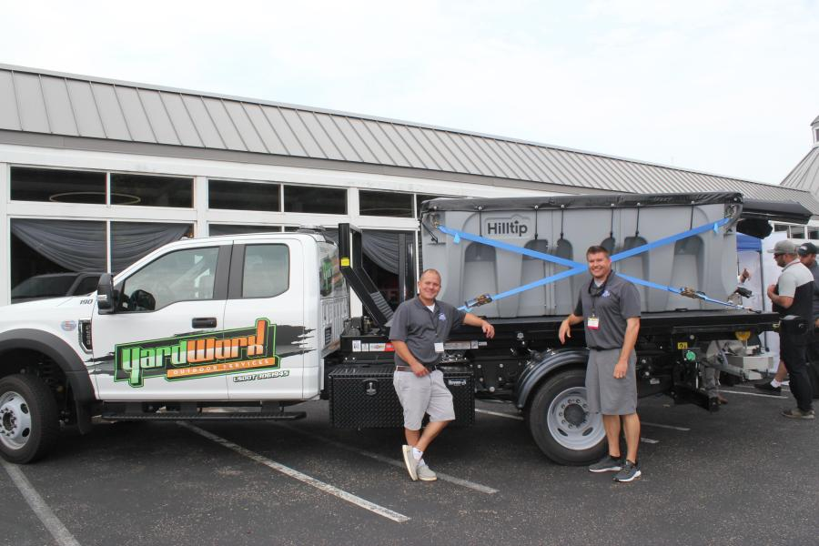 Jay Weber (L) and Adam Jarvinen of Twin Star Equipment and Manufacturing, Clearwater, Minn., with a HillTip Icestriker combi spreader — a poly-electric spreader. HillTip is a European manufacturer of road maintenance equipment, specialized in salt spreaders with advanced ice control technology.
