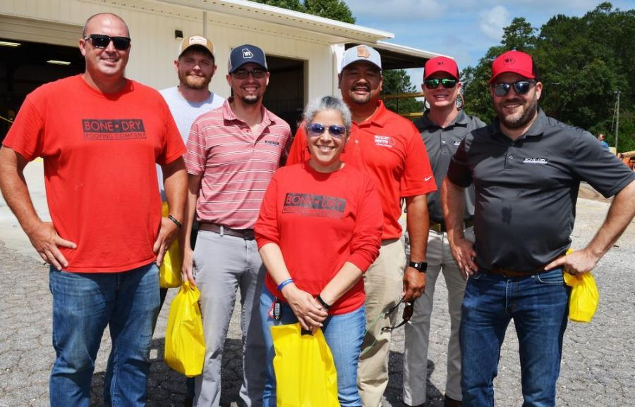 Yancey Rents representative VJ Locsin (5th from L) met with a group of customers from Bone Dry Roofing Company, based in Athens, including (L-R): Jeremy Minish, JD Gustavel, Matt Whiting, Lisa Kirkpatrick, Sam Perry and Matt Quattlebaum.