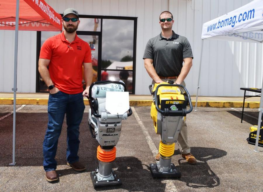 Manufacturer reps were out in full force with their goods including dueling rammer/tampers from Kevin Snyder (L) of Multiquip and John Roebuck of Bomag.