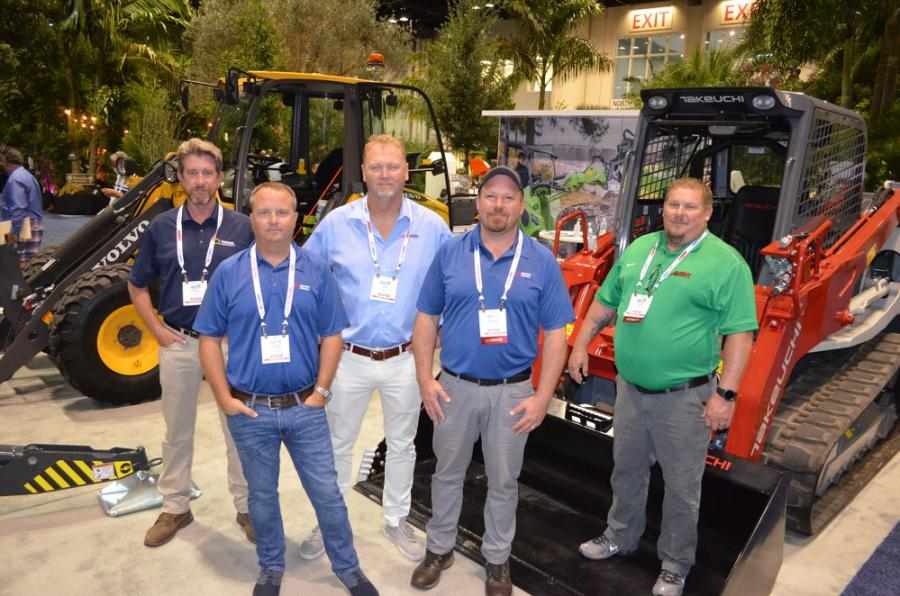 Showcasing a variety of machines in the ALTA Equipment exhibit area (L-R) are  James Canning, Jason Silvestri, Josh McDonald, Adrian D'Arts and David Willis.