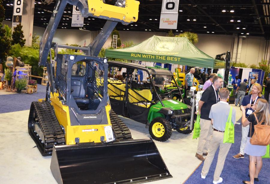 Everglades Equipment Group merged the yellow Deere construction equipment with the green John Deere landscape equipment for a spectacular exhibit of both.
