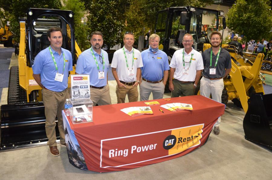 With two exhibit areas in the show, Ring Power Corporation had quite a contingency of representatives promoting their machines, including (L-R) Drew Cisel, Ryan Stallings, Jeremy Miles, Durham Young, Jon Bates and Cole Benn.