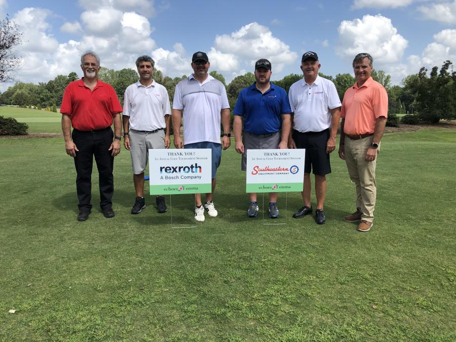 (L-R) are Wayne Calder; Bruno Russo and Chad Huffman, both of Rexroth, A Bosch Company; Mickey Gourley and Doug Neff, both of Southeastern Equipment Company in Cambridge, Ohio; and David Calder.