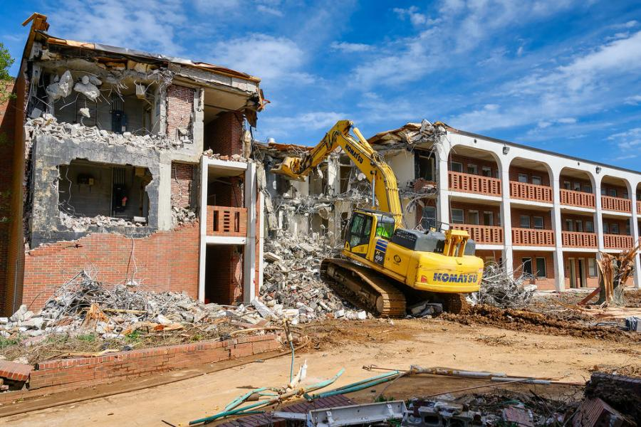 Two buildings — the Abernathy and Ezell halls — were razed to make way for the School of Concrete and Construction Management.