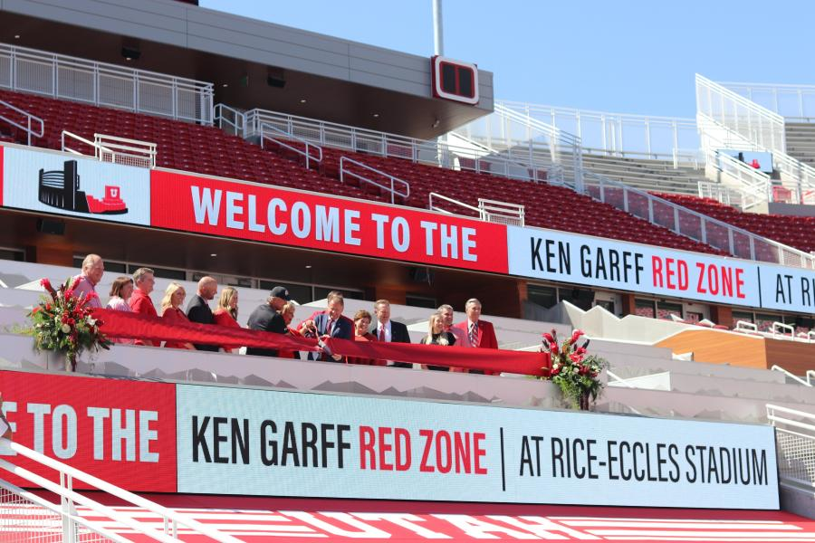 The University of Utah, along with the Ken Garff family, officially cut the ribbon on the $80 million Ken Garff Red Zone at Rice-Eccles Stadium.  (Rice-Eccles photo)