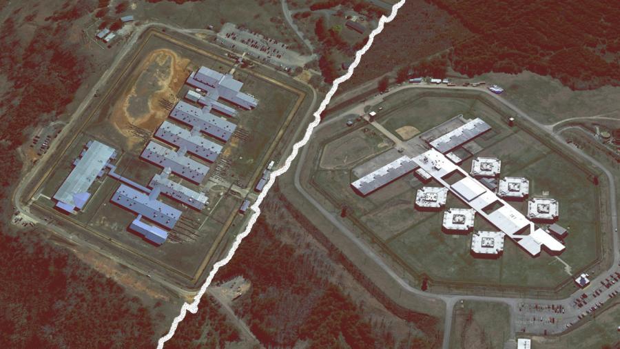 Bullock Correctional Facility (L) and Donaldson Correctional Facility. (Via GOOGLE EARTH)