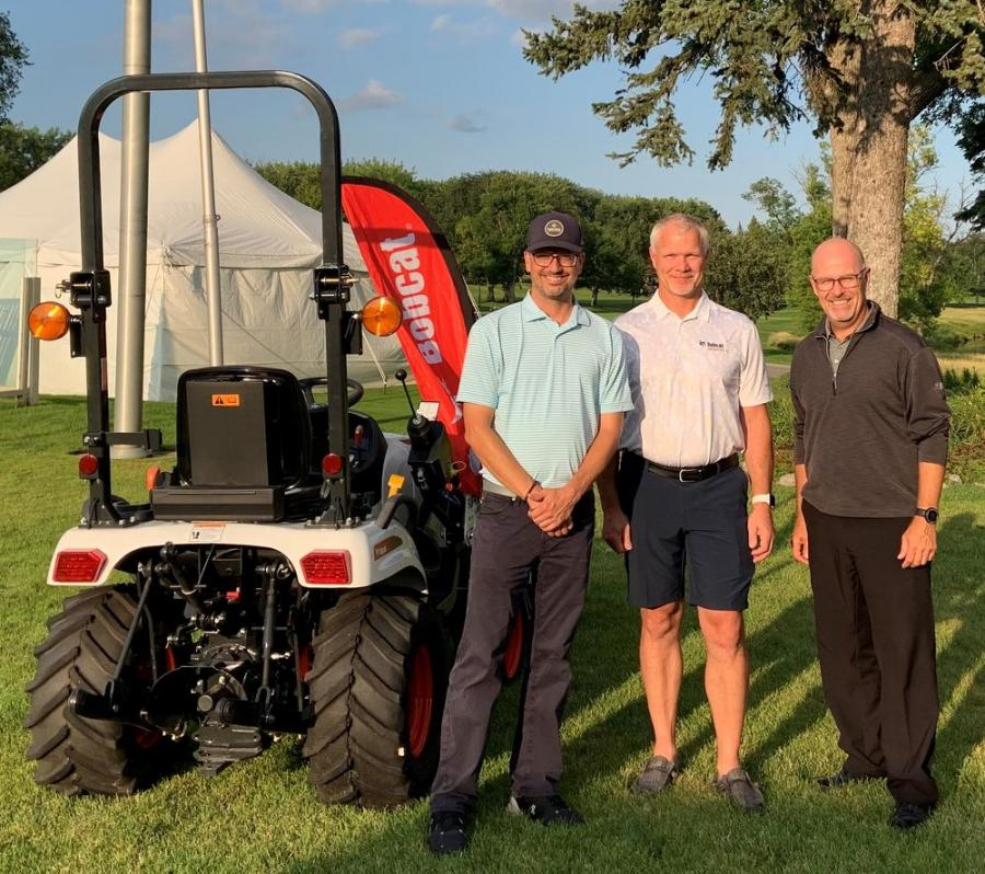 (L-R): David Newman, Village Development director; Mike Ballweber, Doosan Bobcat president; and Mark Johnson, Open Tournament director 2021.