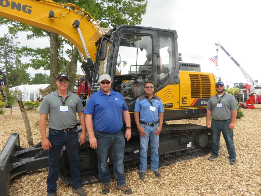 (L-R): CrossTrac Equipment's Brian Denny, Andy Aska, Armando Moreno and Anthony Radeka were at the GLTPA Expo with a LiuGong 915E excavator.