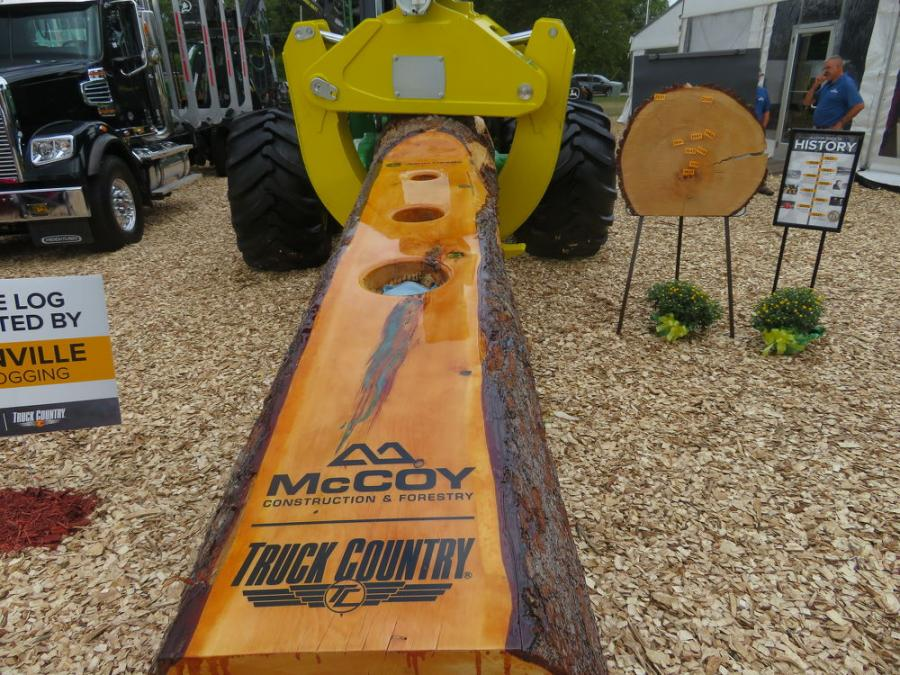 McCoy Construction & Forestry featured a cornhole contest at its booth. The game was constructed by Mike Sanville of Sanville Logging.