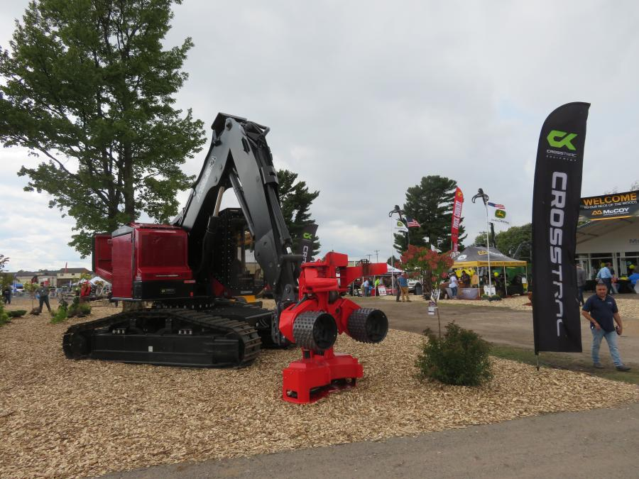 Crosstrac Equipment displayed the Timberpro TN 7250 equipped with a JP Skidmore CF-22 harvester at the entrance to its display area.