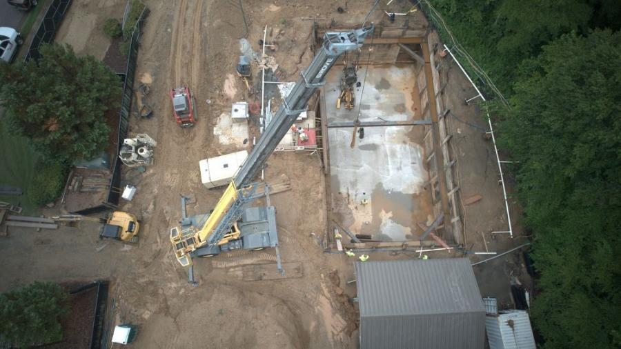 UMA's team worked in a 23-ft.-deep-by-56-ft.-wide excavation to install rock anchors at the Blankets Creek Pump Station.