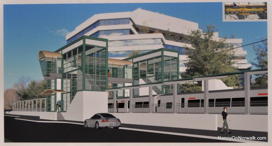 A 2015 rendering of the proposed train station at Merritt 7. (NancyOnNorwalk photo)