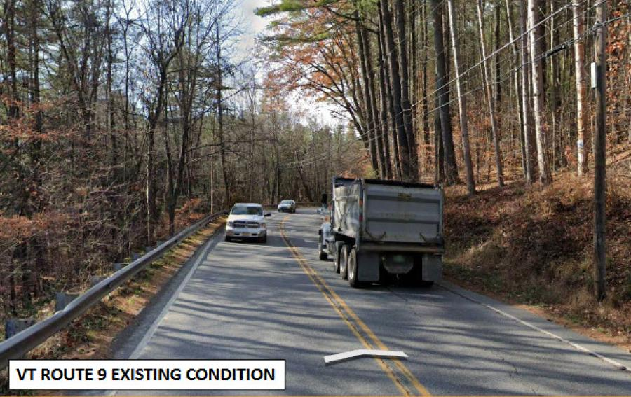 On many stretches of VT 9 the road travels close to unmovable landforms, such as ledges, and to waterways, such as the Deerfield River and Whetstone Brook.