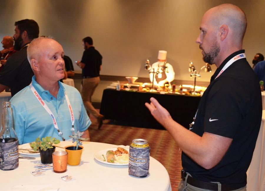 Frank Vetter (L), JCB machine fleet owner and VP-general manager of GoMulch, a mulch and soil company based in Ft. Myers, Fla., has the opportunity for a great discussion of his machine productivity with his Briggs JCB salesman, Justin McBride