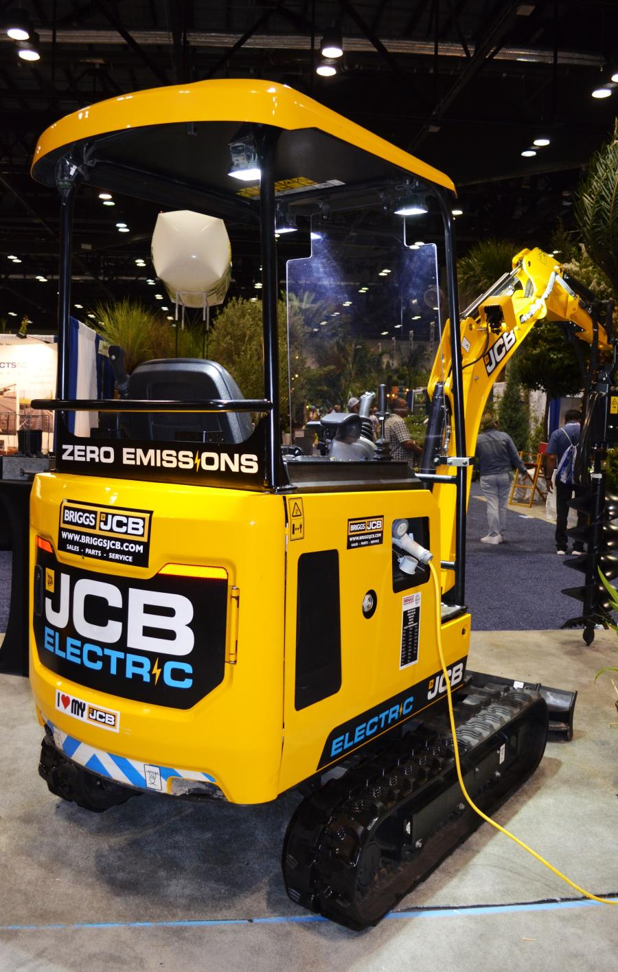 On the showroom floor in the Briggs JCB exhibit area was the only zero emissions electric mini-excavator in the show.