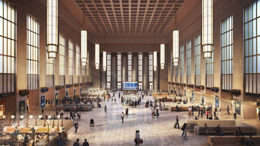Amtrak said the William H. Gray III 30th Street Station Redevelopment Project is the first significant phase of its ongoing efforts toward implementing the Gray 30th Street Station District Plan. The project covers nearly 500,000 sq. ft. of renovation and modernization. (Amtrak rendering)