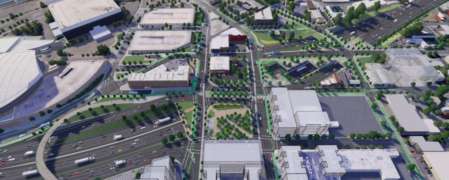The Hybrid 3 option would involve building a larger cover over I-5 at the Rose Quarter than originally planned, and one capable of supporting buildings.