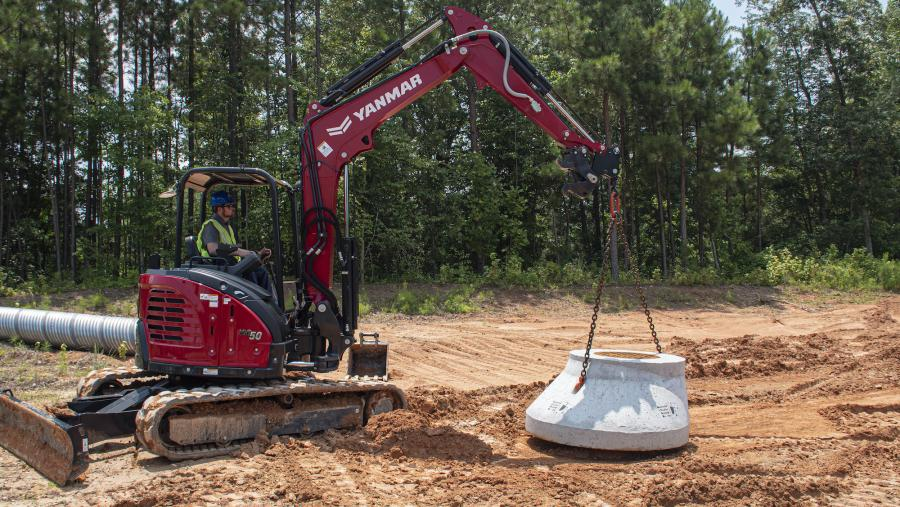 Yanmar Compact Equipment introduces the stowable utility hook to provide a convenient, factory designed lifting point for Yanmar compact excavators, without the need to use an attachment. (Yanmar Compact Equipment photo)