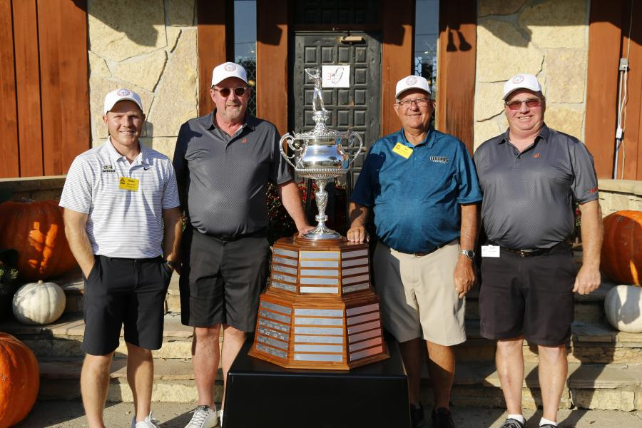 Champions from the Holstein course (L-R) were Blake Driskell of Gerdan Slipforming Inc.; Al Stoakes of Iowa Fluid Power; Jim Gunderson of Legends Concrete; and Scott Wilson of M.I.C.I.