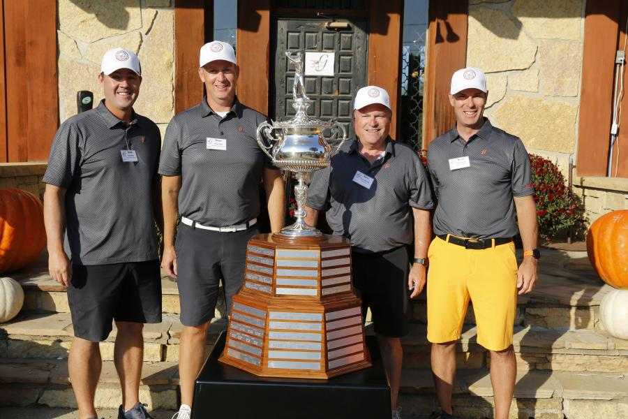 Champions from the Odebolt course (L-R) were Mark Kline of Danfoss Power Solutions; Shane Jager of Cain Ellsworth and Company; Terry Hennessey of Fabick CAT; and Kevin Garcia of Trimble Navigation.