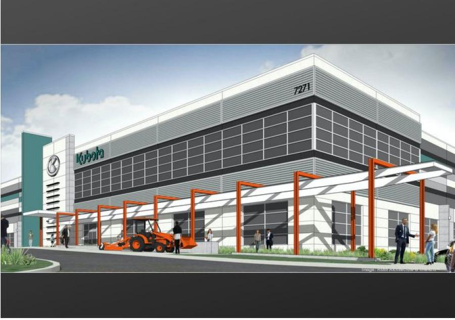 Kubota Tractor Corp. should break ground within weeks on a new $60 million western region headquarters and distribution center in Elk Grove, with city officials banking on seeing more such plans pop up nearby. (RMW Architecture & Interiors rendering)