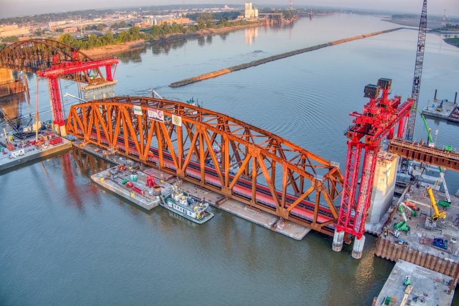 A design-bid-build project, reconstruction of the bridge uses innovative project delivery methods that will improve safety and speed completion while limiting bridge and river traffic outages.  (Walsh Construction and Trey Cambern Photography photo)