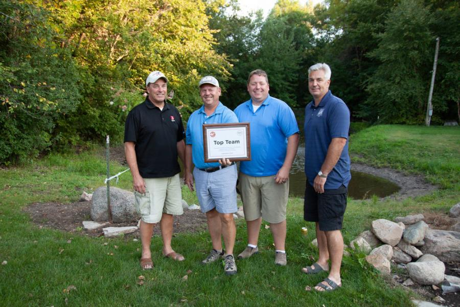 This year's AGC of Minnesota Sporting Clays fundraiser Top Team was Grazzini #1 — Gregory Grazzini, Jake Boerboon, Dan Meyer, Greg Peters and Rick Scott (not pictured), with a score of 450.