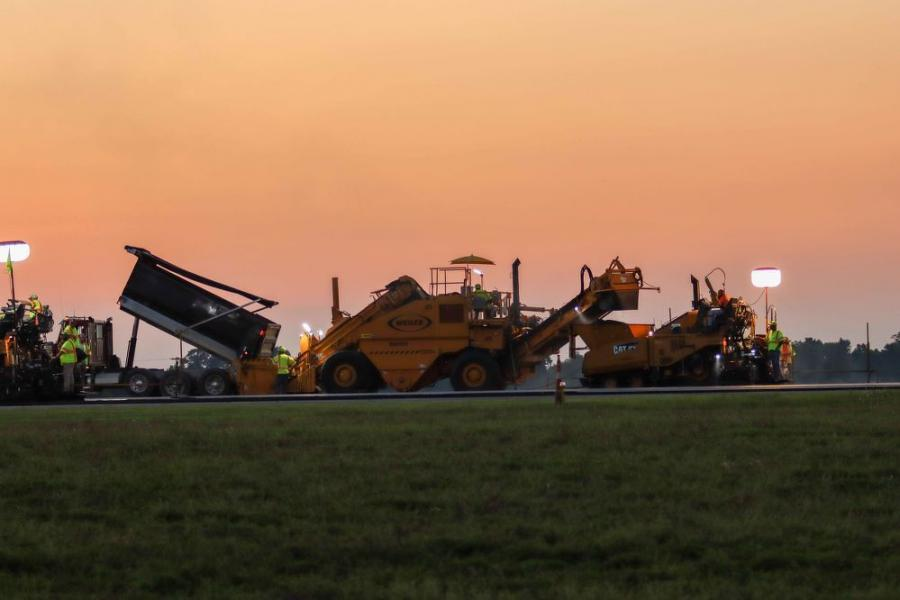 Two asphalt plants kept the road mixtures continuously flowing during the 72-hour sprint: ATS Construction's plant at Manchester Street and Allen Company's Nicholasville Plant. (Brian Wood photo)