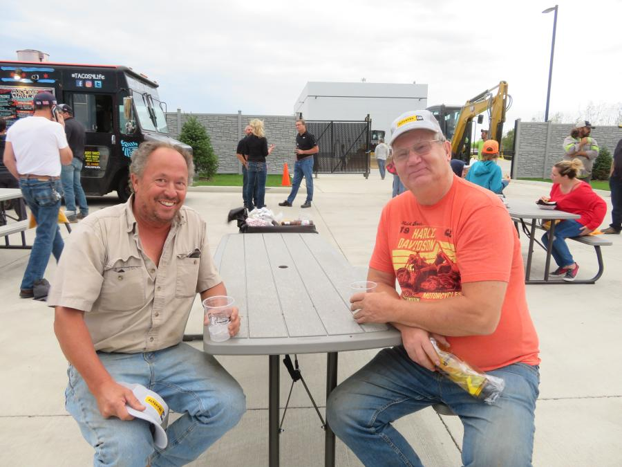 Steve Hrncar (L) of Excavating Concepts and Gary Schauer came to celebrate the opening of Altorfer Cat's new facilities.