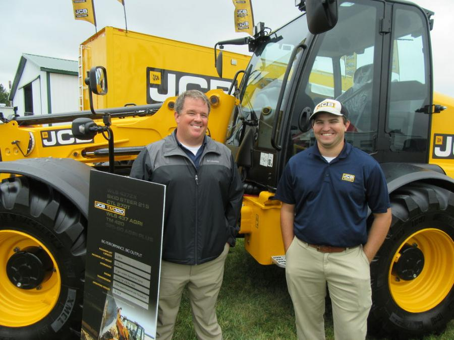 JCB representatives Brandon Hawkins (L) and Daniel Willhelm were on hand to help out at the American Equipment Service equipment display.